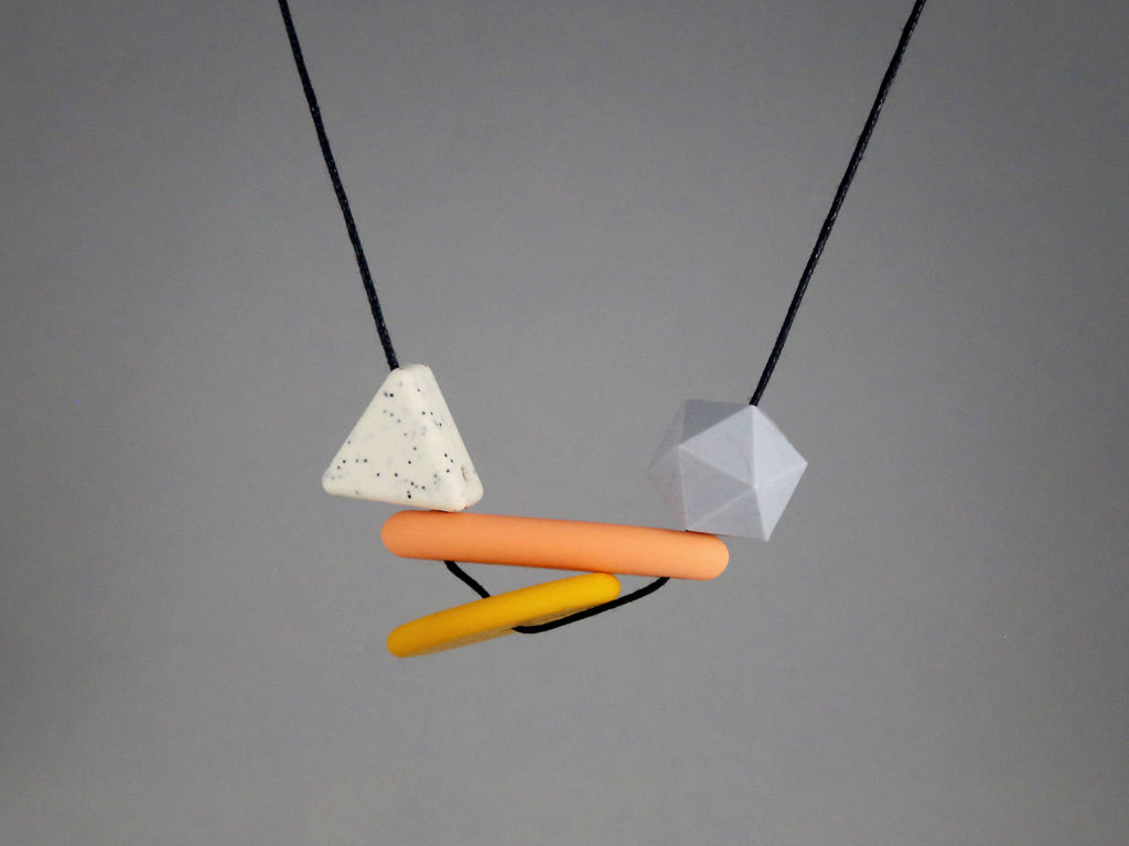 80s Asymmetrical Geometric Baby Friendly Silicone Necklace - Mustard