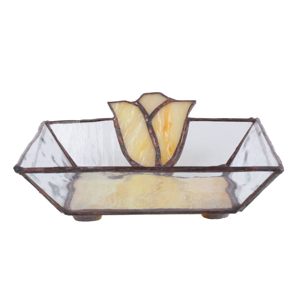 yellow glass handmade trinket bowl