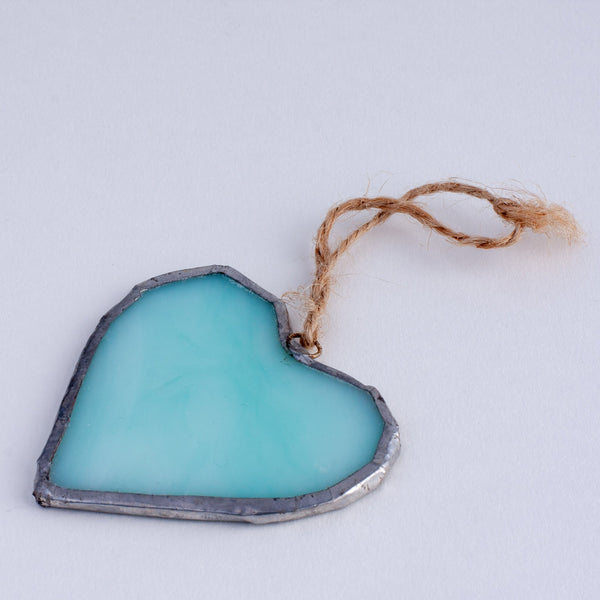 blue glass heart decoration