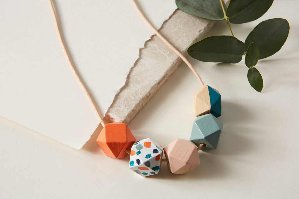 Geometric Necklace - Live Coral Terrazzo, Sage, Pink & Teal | Statement Necklace | Gift for her | Geometric Jewellery | Terrazzo | Coral