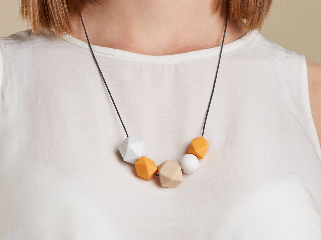 Silicone Baby Friendly Necklace - Mustard, Granite & Marble | New Mum Gift | Geometric Necklace | Baby Shower Gift | Soother | Geometric
