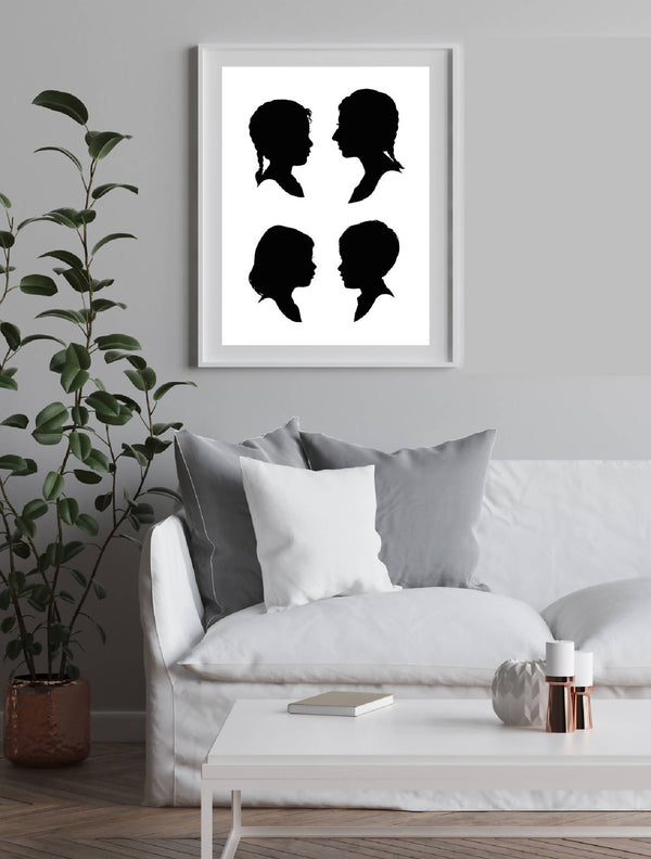 Hand Cut Silhouette Portrait of you and your loved ones (set of four)