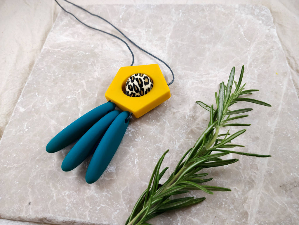 Baby Friendly Silicone Necklace - Dreamcatcher Mustard Teal | New Mum Gift