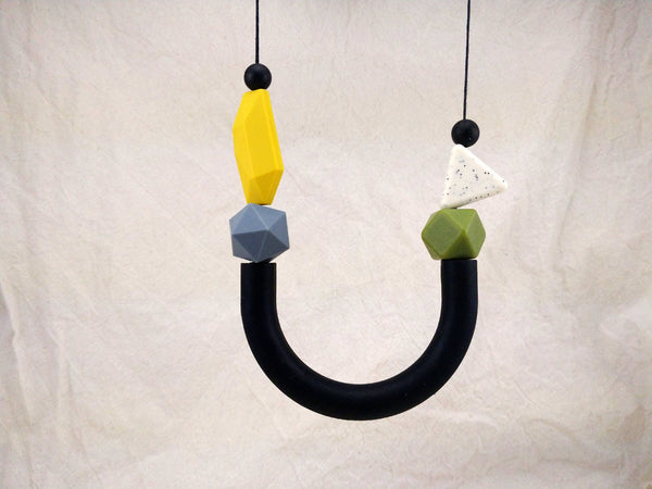 Black Tube, Mustard and Grey Silicone Necklace | Geometric Necklace | Statement Necklace