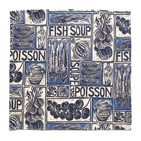 Set of 4 Recipe Print Napkins - Fish Soup / Soupe de Poisson