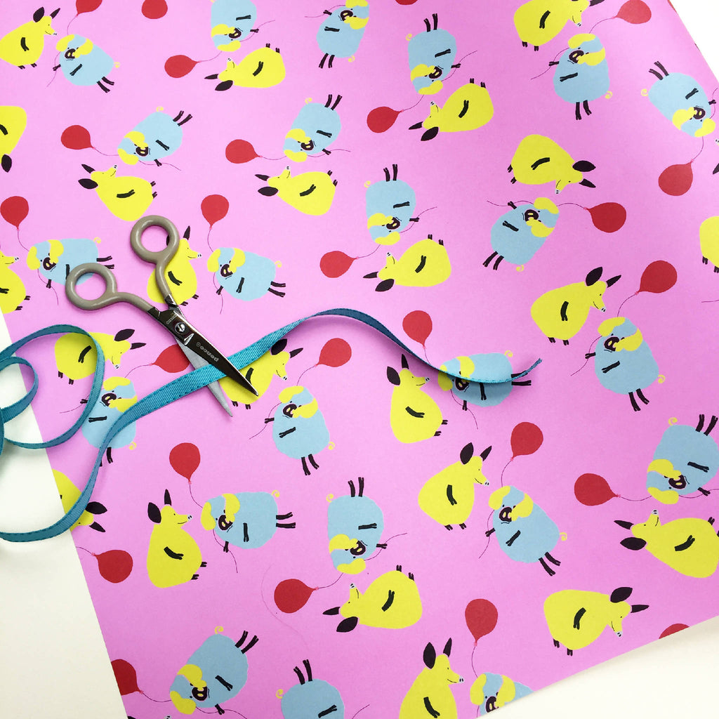 Original Designed Wrapping Paper: Birthday Pigs (Pack Of 10 Sheets)
