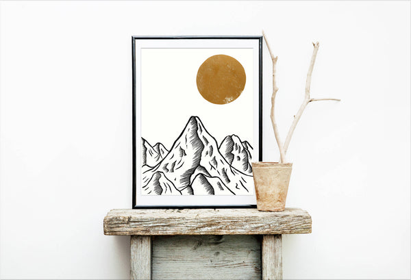 Mountain At Dusk Linocut Print