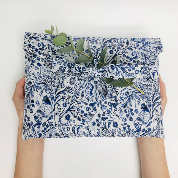 Blue and White Bird Design reusable wrap closed