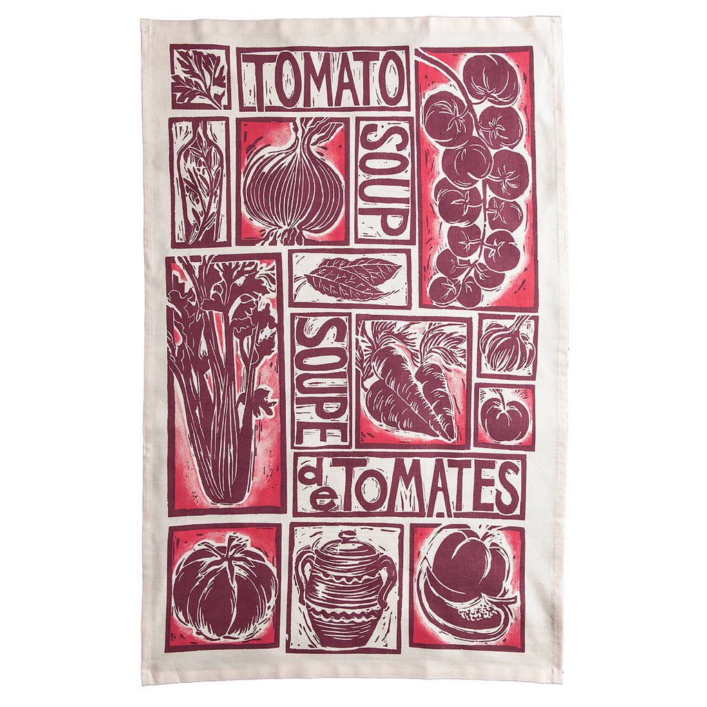Tomato Soup Illustrated Recipe Organic Cotton Tea Towel