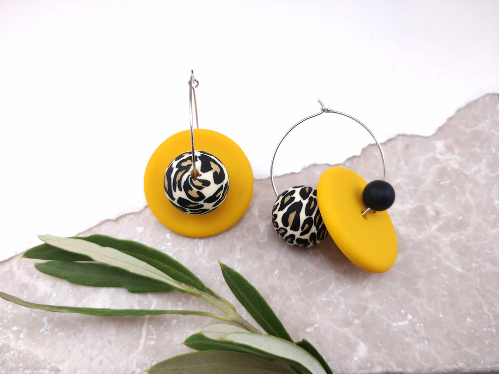Leopard & Mustard Hoop Earrings | Statement Earrings | Hoops | Gift for her