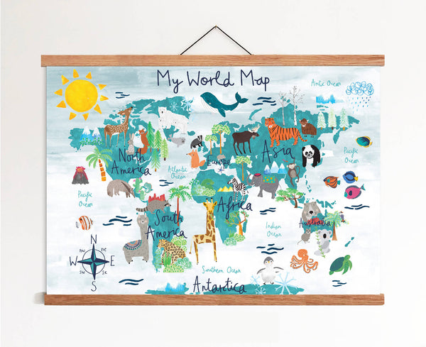 My First World Map Art Print In Blue