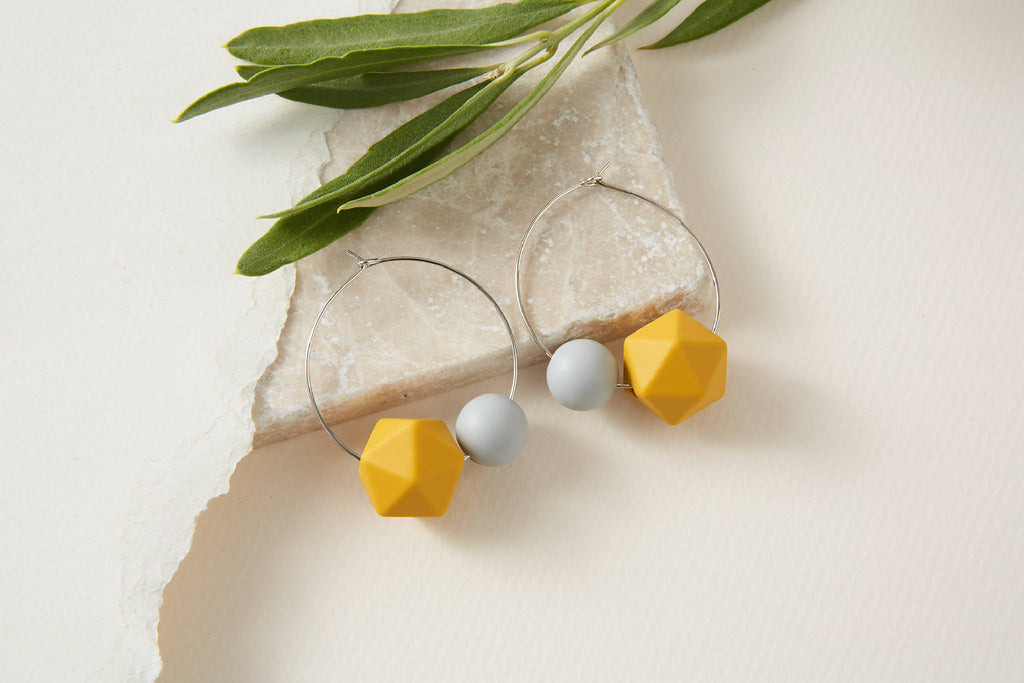 Geometric Mustard and Grey Hoop Earrings | Statement Earrings | Hoops earrings