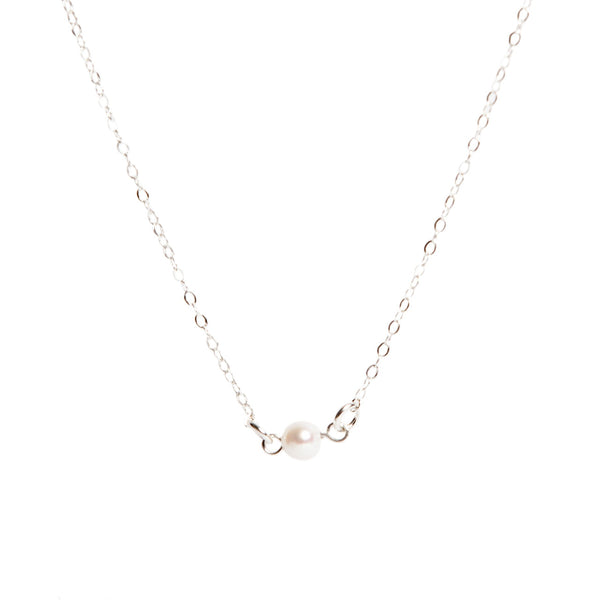 Silver Single Pearl Necklace - LilyKing