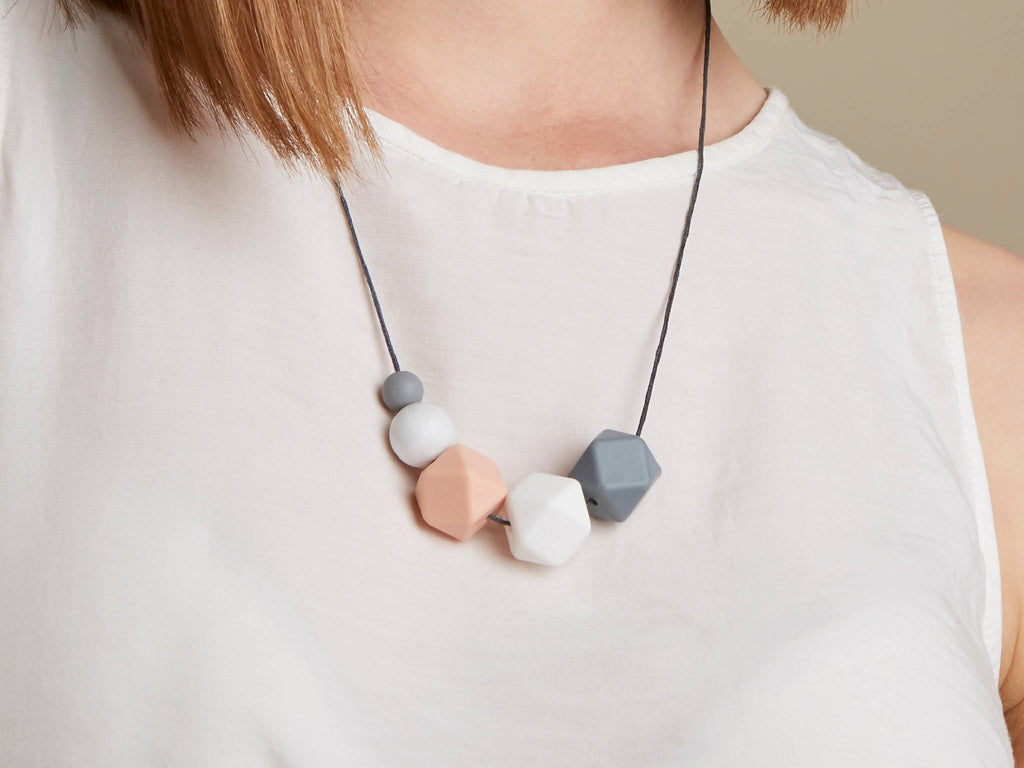 Silicone Teething Necklace - Pink Grey Marble White | New Mum | Baby Shower Gift | Nursing necklace | Geometric necklace | gift for her