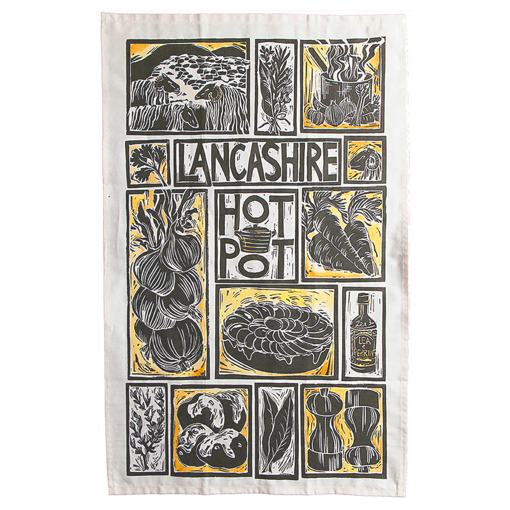 Lancashire Hot Pot Illustrated Recipe Organic Cotton Tea Towel