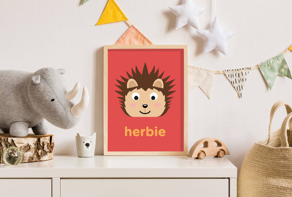 Personalised Hedgehog Wall Print