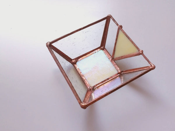 Mini Stained Glass Iridescent Yellow Trinket Dish