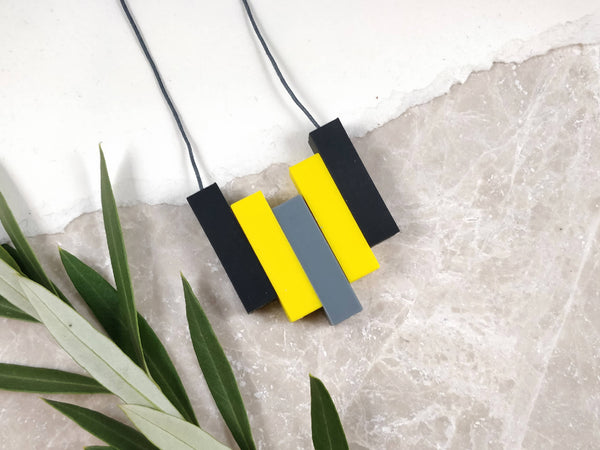 Baby Friendly Silicone Necklace - Black, Yellow & Grey