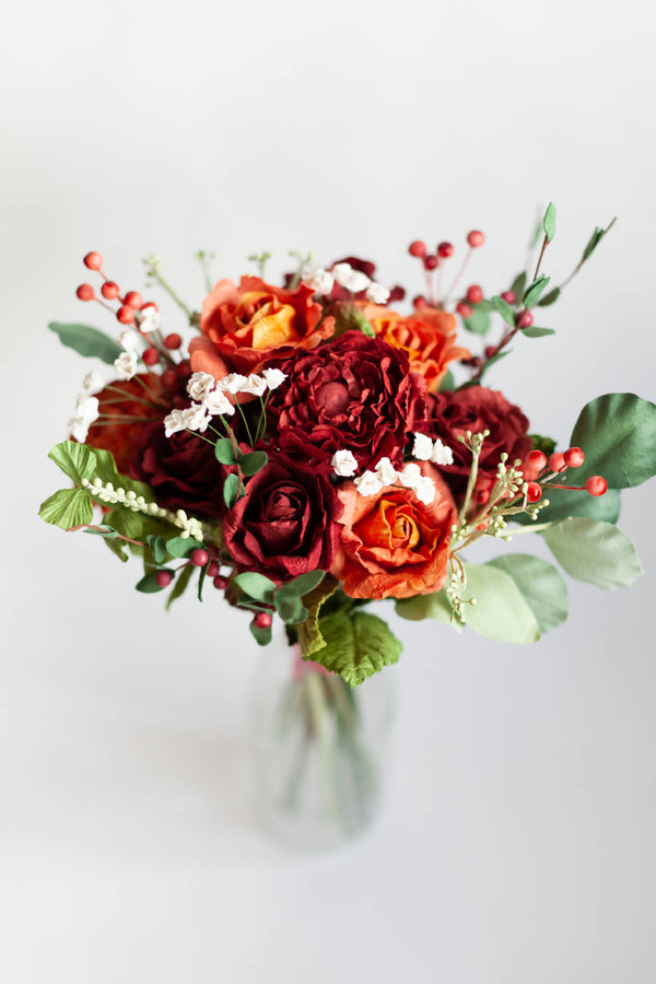 Paper Flower Red & Orange Bouquet
