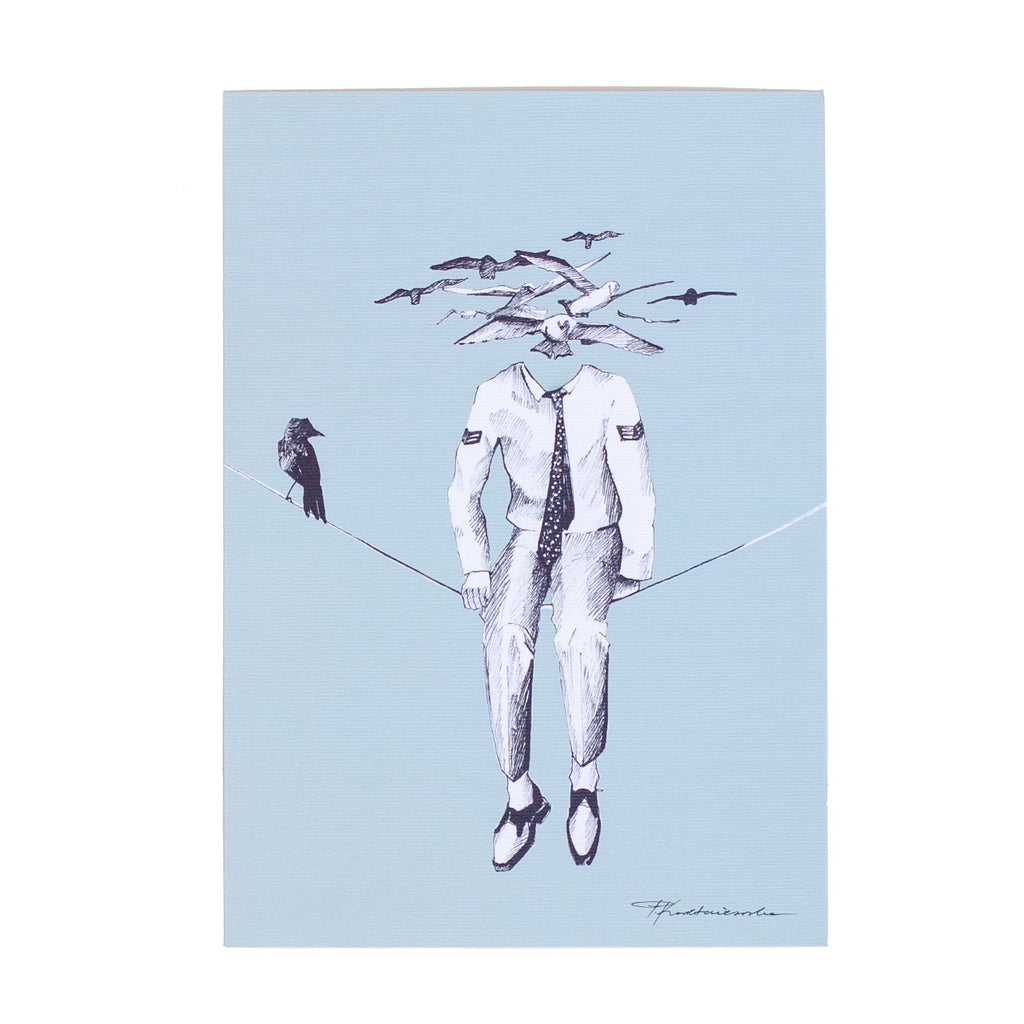 ink drawing of a mans body sitting on a tightrope with birds as his head