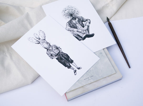 two ink drawings of two men with either a cactus or dandelion as a their head