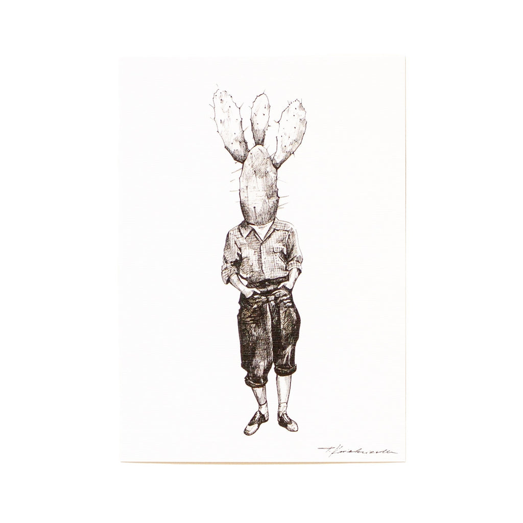 ink drawing of a mans standing with a cactus as his head
