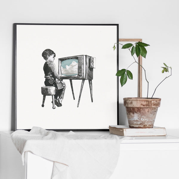 ink drawing of a small boy sitting on a stool watching a tv