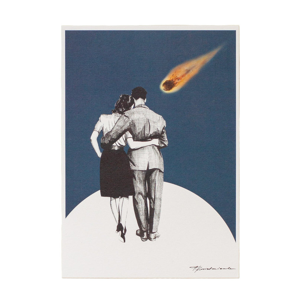 ink drawing of a man and woman dressed up watching a a comet in space