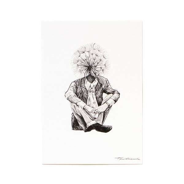 ink drawing of a man sitting in a suit with a dandelion as his head