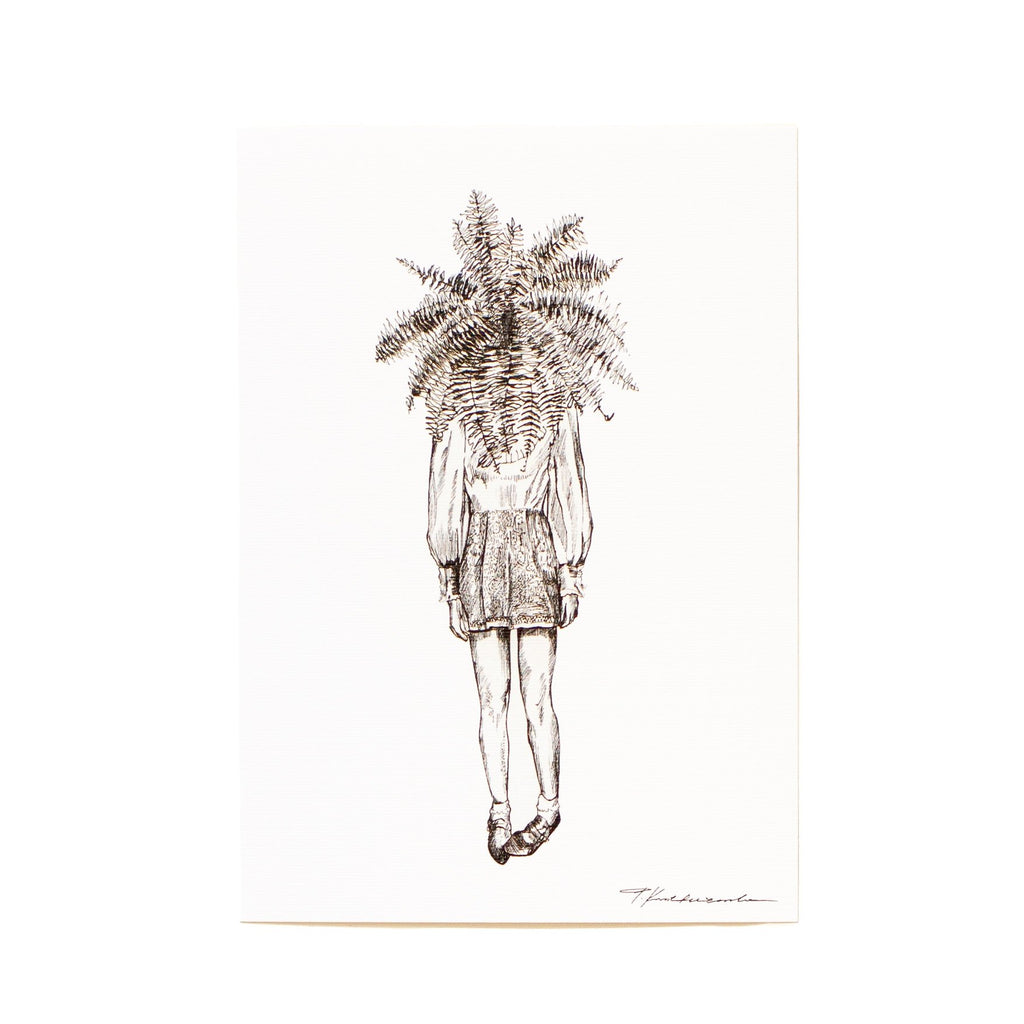 ink drawing of a woman standing with a fern as her head
