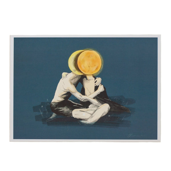 ink drawing of man and woman embracing covered by a sun and moon on a blue background