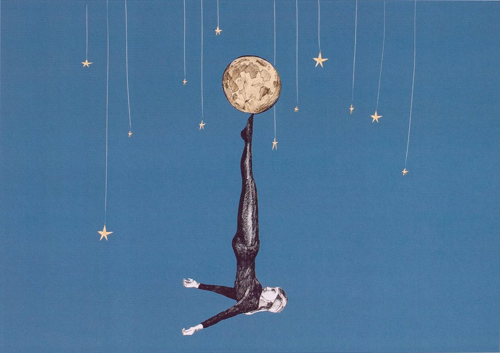 ink drawing of a girl doing a handstand balancing the moon on her feet on a blue background