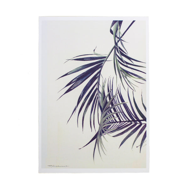watercolour drawing of palm tree leaves