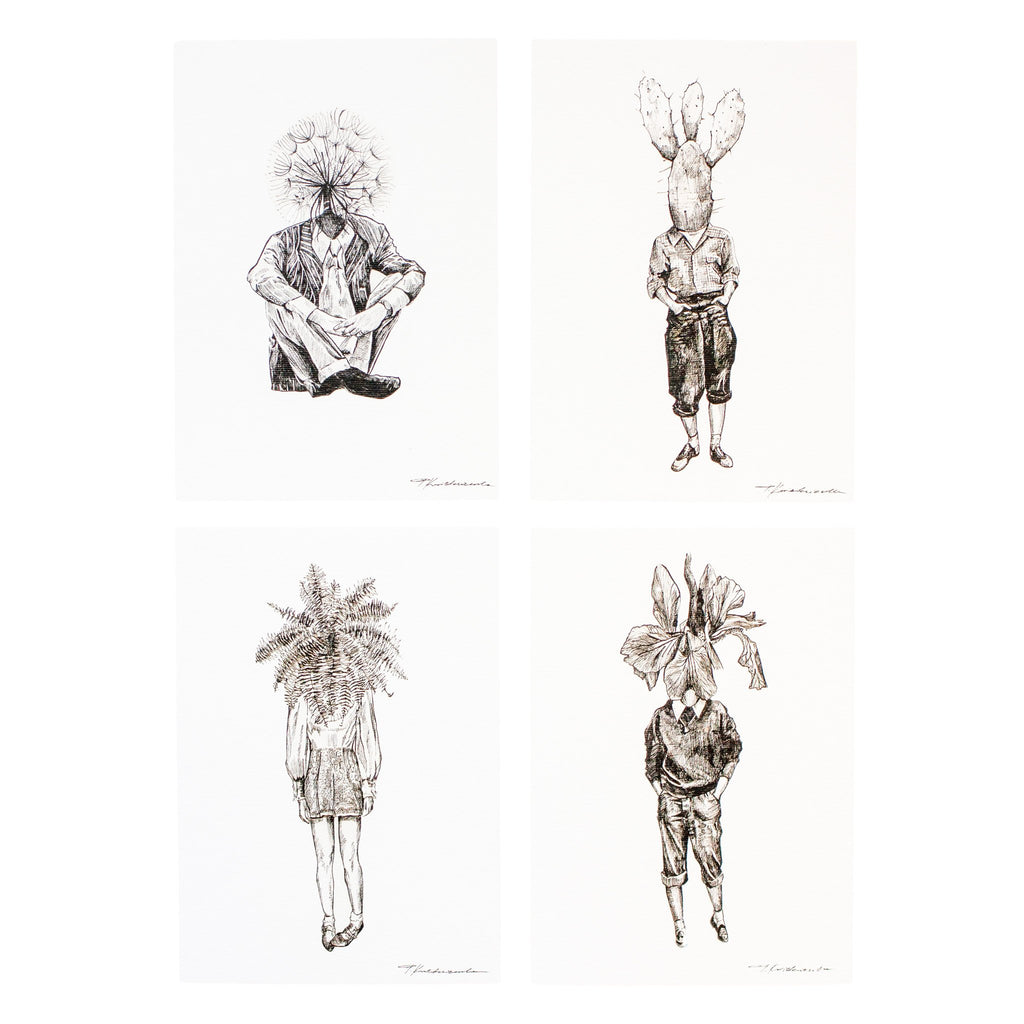 four ink drawings of different people with either a fern iris dandelion or cactus as their head
