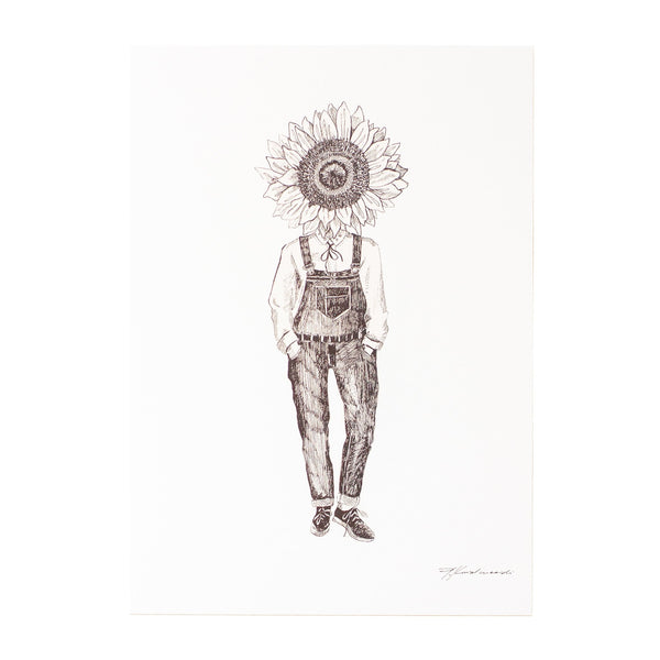 black and white ink drawing of a man dressed in dunagrees with a sunflower as his head