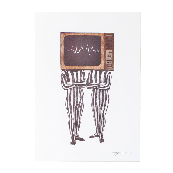 ink drawing of two bodies with a tv as their head