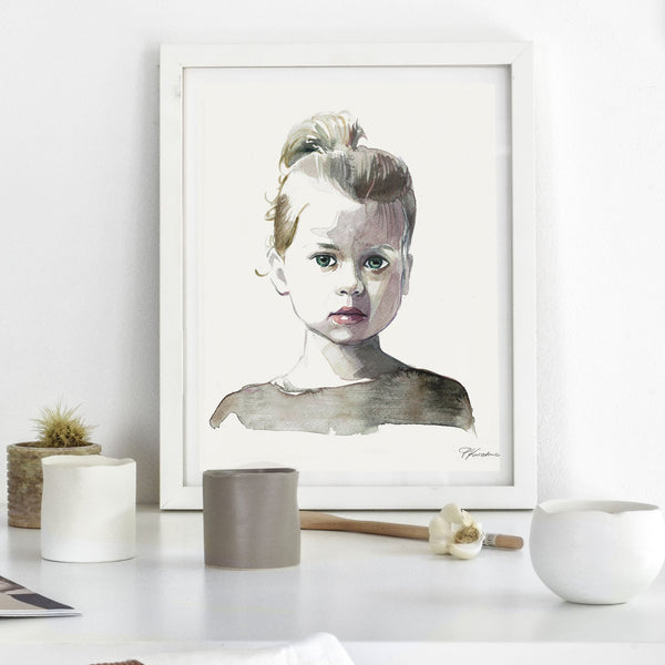 watercolour portrait of a young girl with her hair in a ponytail