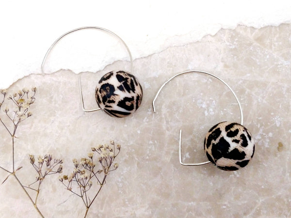 Leopard 'G' Shape Sterling Silver Hoop Earrings | Statement Earrings | Hoops Earrings