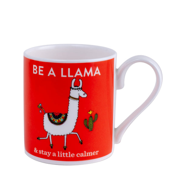 red orange mug with a white llama printed on it with words saying be a llama and stay a little calmer