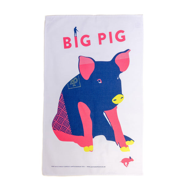 teatowel with a blue and red pig printed on it with the word big pig written out
