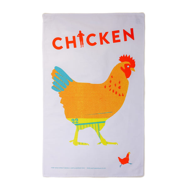 teatowel with a chicken printed on it with the word chicken written out