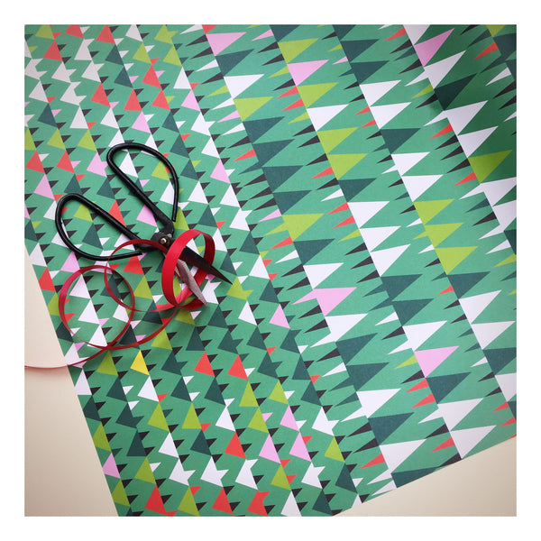 green wrapping paper designed by Anita Mangan