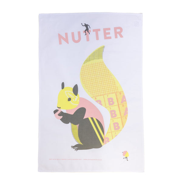 teatowel with a yellow and pink squirrel printed on it with the word nutter written out
