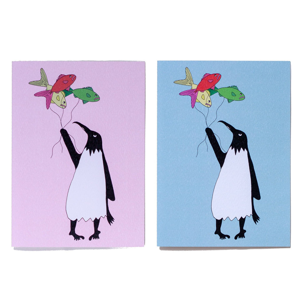 two greeting cards a pink one with a penguin and a blue one with a penguin