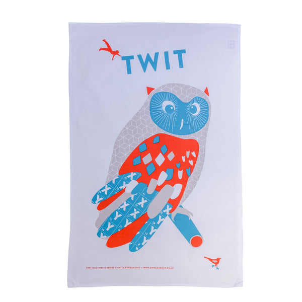 teatowel with a blue and red owl printed on it with the word twit written out