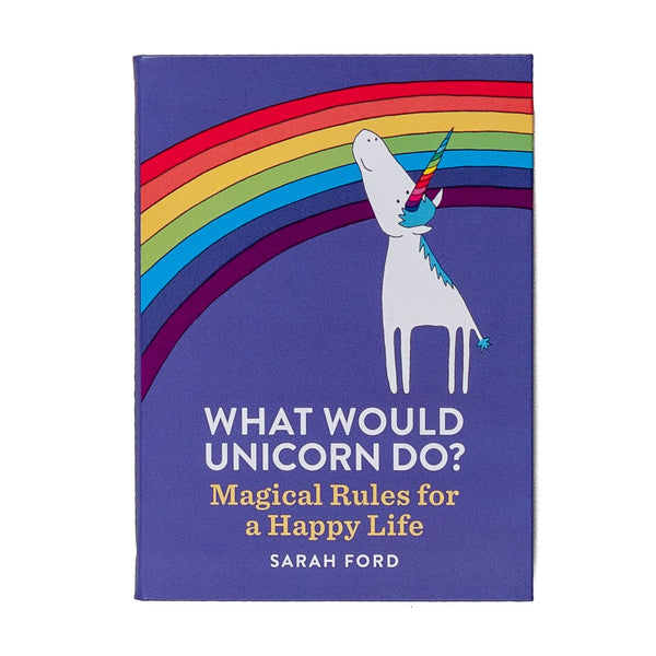 purple illustrated book with a rainbow and unicorn and the title what would a unicorn do