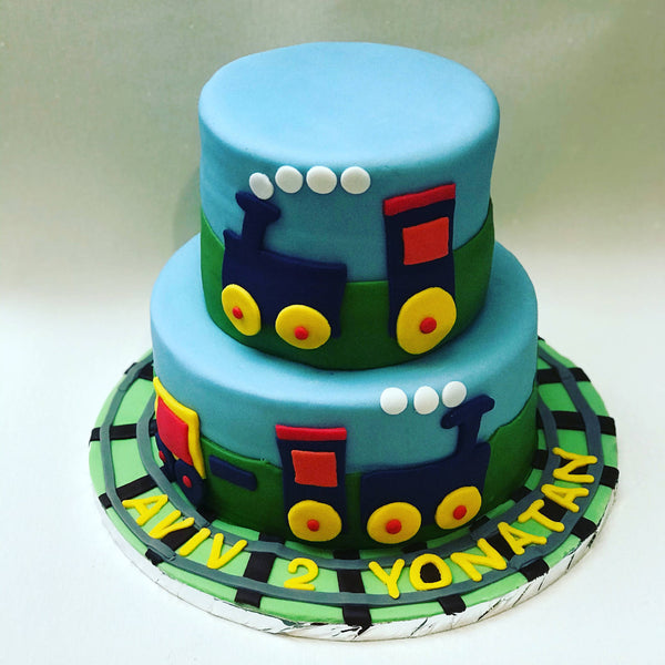 Two Tiered Train Cake