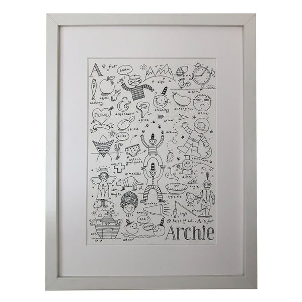 bespoke print of a childs name with lots of black white drawings of items beginning with the same letter as their name