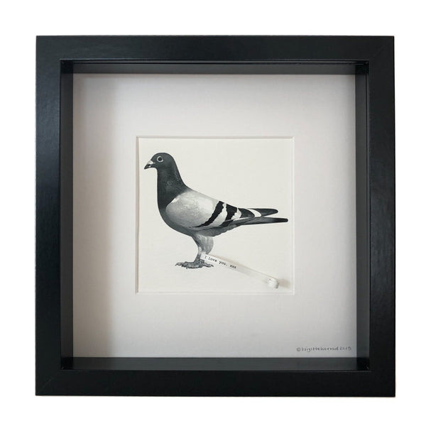 picture of a pigeon with a little piece of paper attached to its leg with the words I love you mounted in a frame