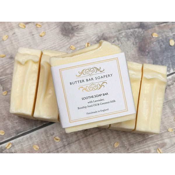 soothe soap bar with lavender rosehip seed oil and coconut milk